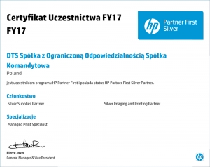 Certyfikat HP 2017