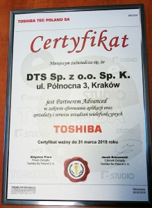 Certyfikat Toshiba