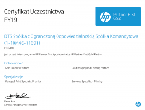 certyfikat HP Partner First Gold 2019