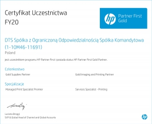 Certyfikat Uczestnictwa 2020