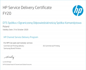 HP Service Delivery Certificate 2020
